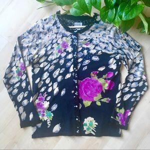 CHICOS Silk Rose Embellished Sequin Cardigan M/8